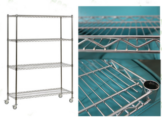 Heavy duty NSF 4 tier chrome wire shelf rack with wheels